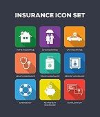 Insurance Flat Icon Set