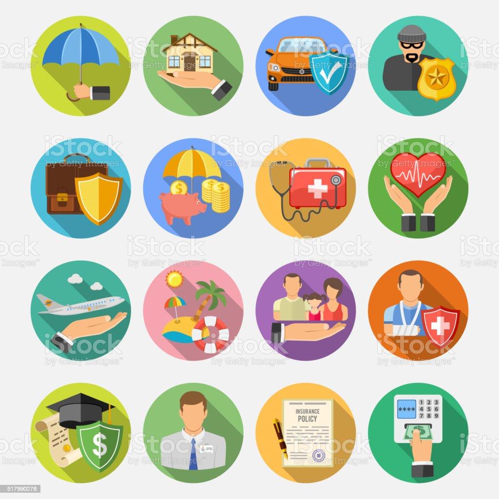 Plat Ensemble d'icônes d'assurance - Illustration vectorielle