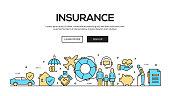 Insurance Flat Line Web Banner Design