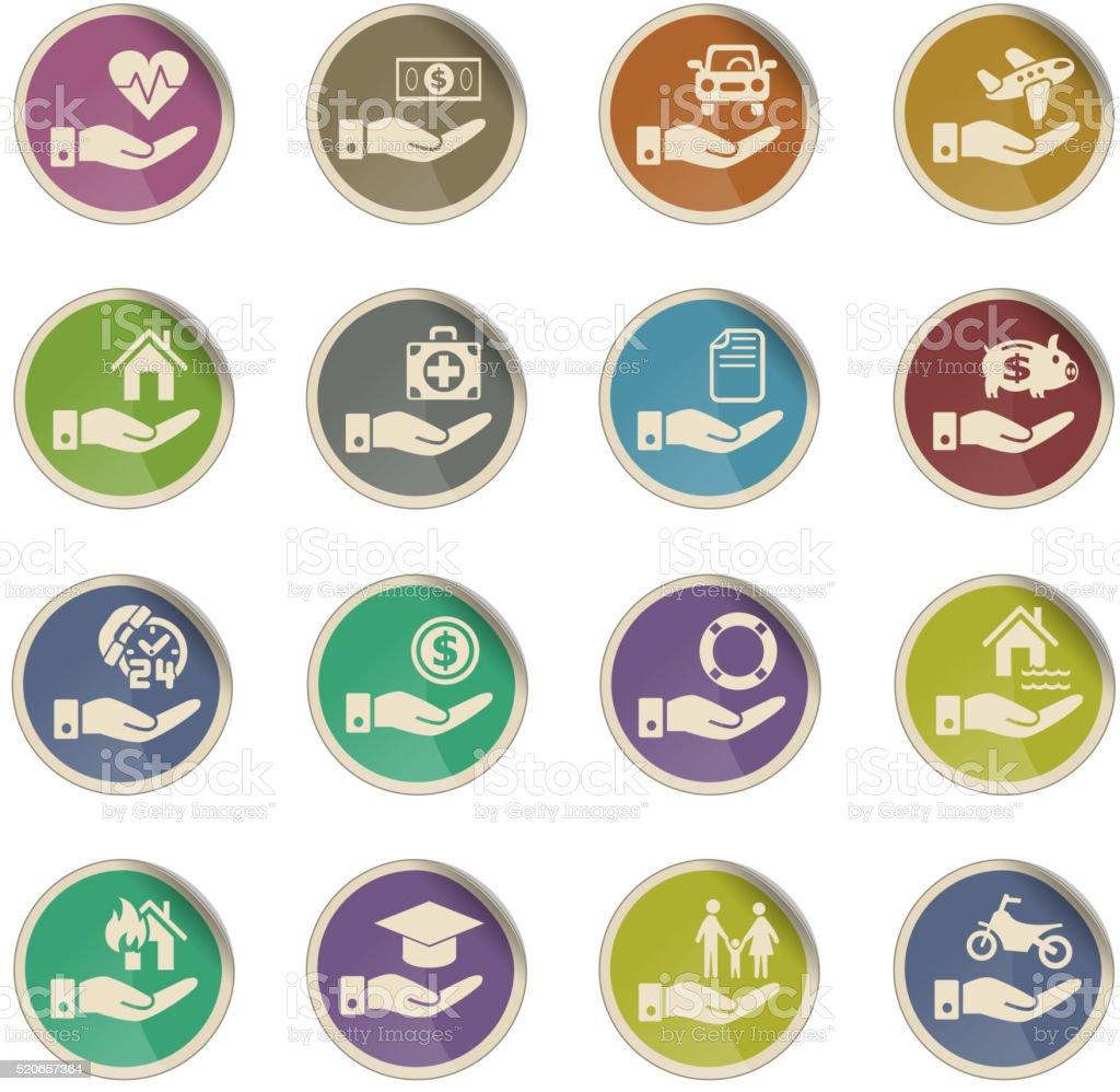 Mão Conjunto de ícones de seguro - ilustração de arte em vetor