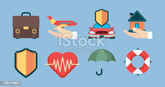 Insurance icon. Property policy insurance objects business life health vector symbols collection. Insurance life and home, security travel and protect life illustration