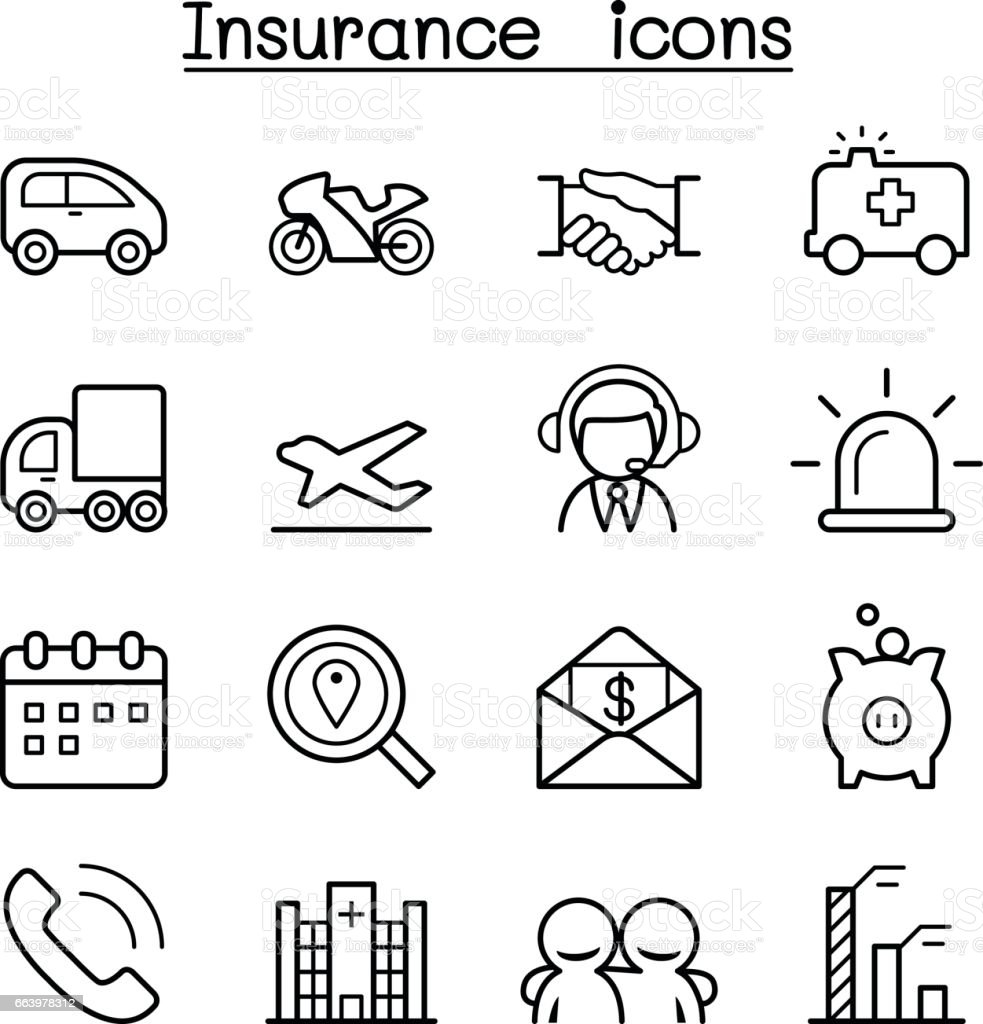 Insurance icon set in thin line style vector art illustration