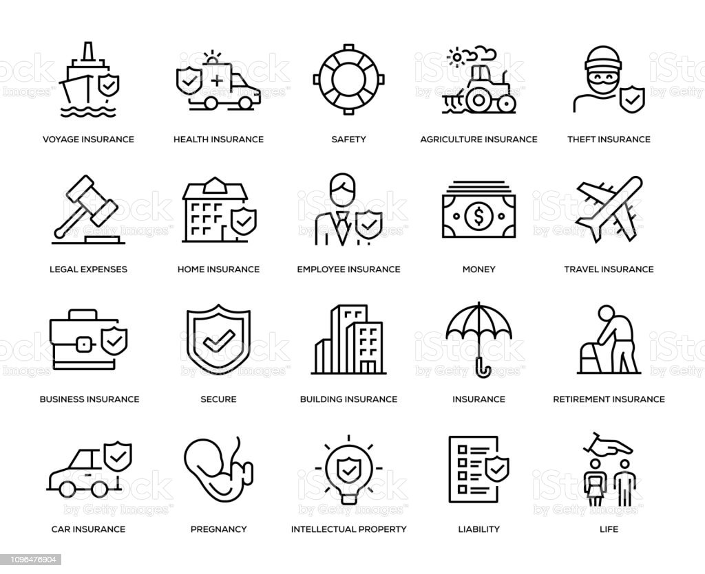 Insurance Icon Set - Royalty-free Acaso arte vetorial