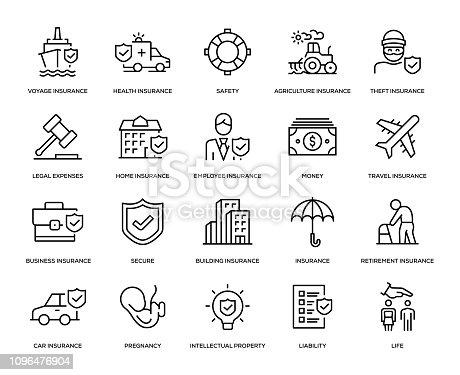 Insurance Icon Set - Thin Line Series