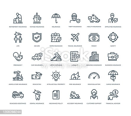 30 Insurance Icons - Line Series