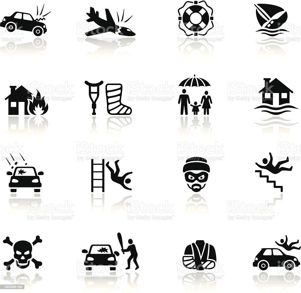 Conjunto de iconos de seguros - ilustración de arte vectorial