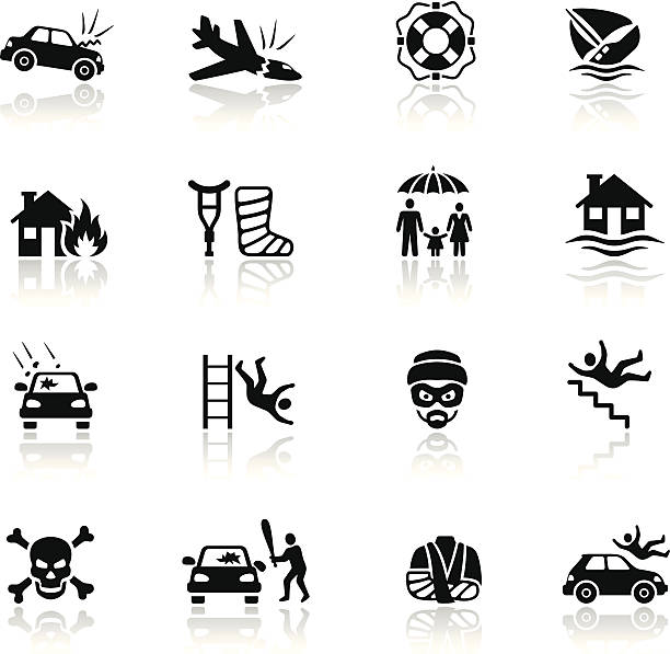 Insurance Icon Set Illustrator Vector EPS file (any size) and High Resolution JPEG included. Each element is named,grouped and layered separately. Very easy to edit. vandalism stock illustrations