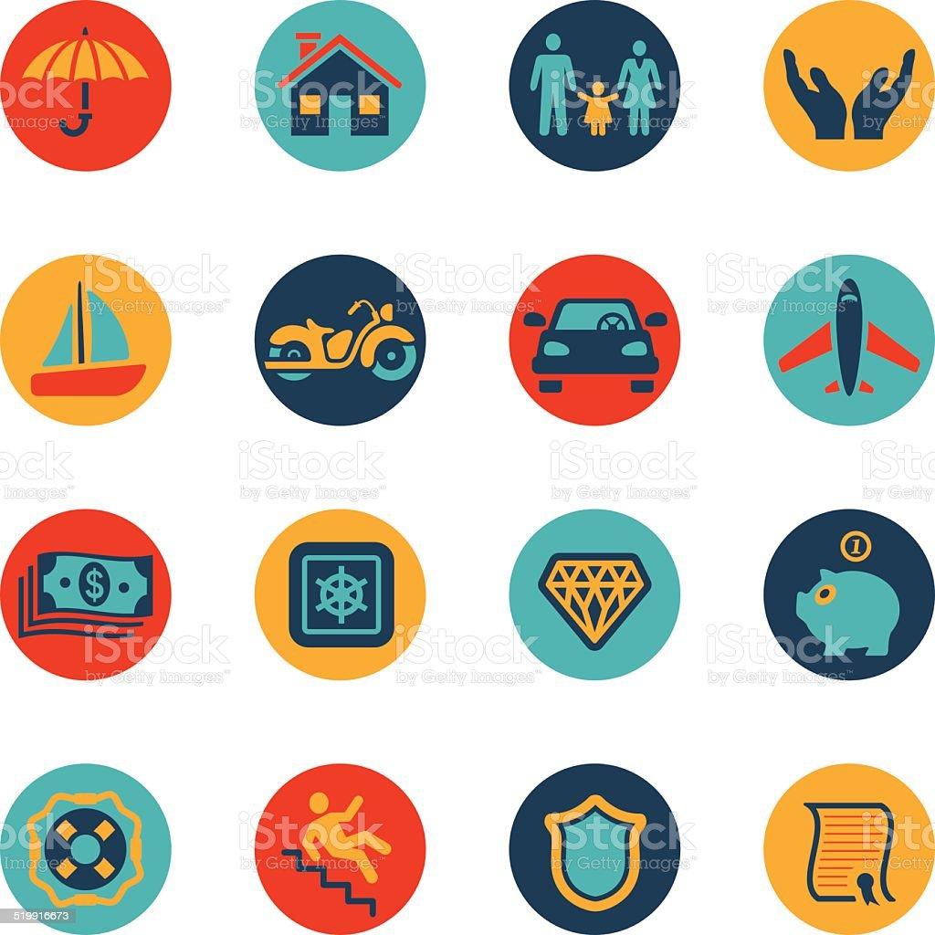Conjunto de ícones de seguro - ilustração de arte em vetor