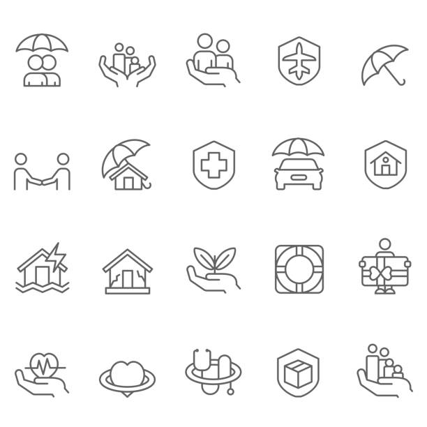 insurance icon set - insurance stock illustrations