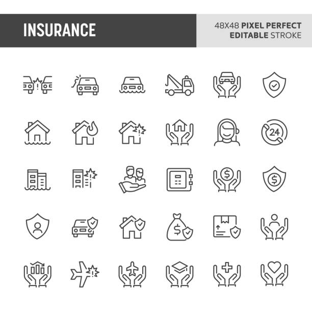 Insurance Icon Set 30 thin line icons associated with insurance. Symbols such as car, house, business and personal life insurance are included in this set. 48x48 pixel perfect vector icon & editable vector.. crisis stock illustrations