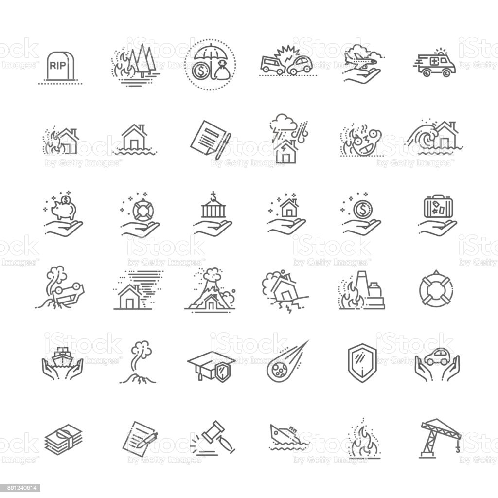 Insurance Icon Thin Line Set Support Services Design for Web and App. Vector illustration vector art illustration