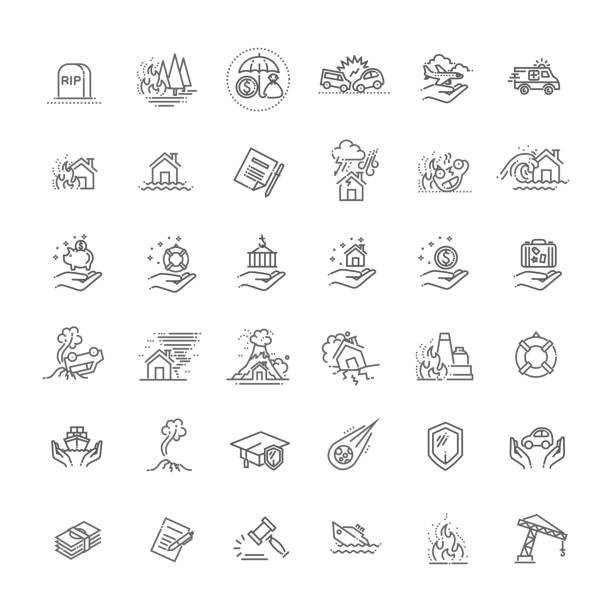 Insurance Icon Thin Line Set Support Services Design for Web and App. Vector illustration Home risk and insurance icons- vector icon set damaged stock illustrations