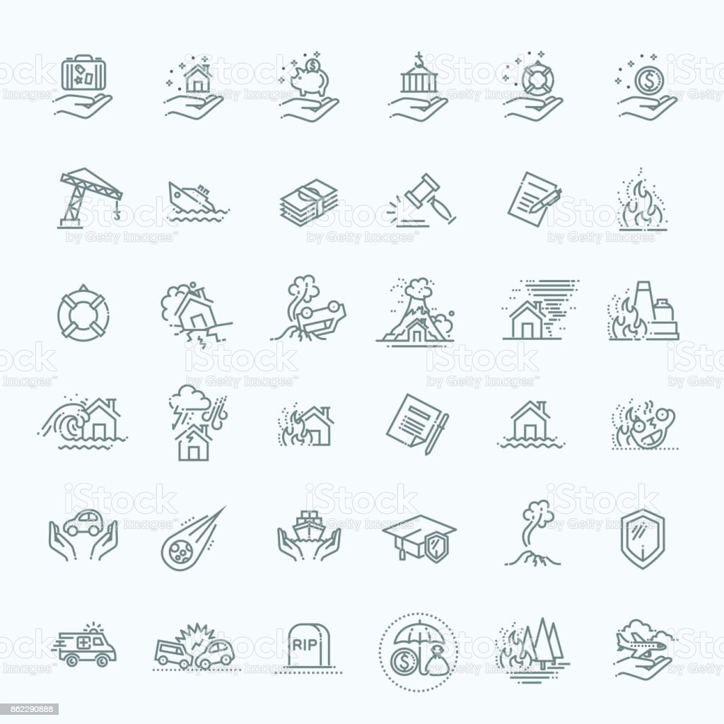 Insurance Icon Thin Line Set Support Services Design, line flat design vector art illustration