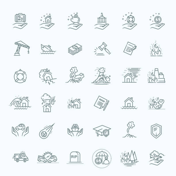 Insurance Icon Thin Line Set Support Services Design, line flat design Home risk and insurance icons- vector icon set damaged stock illustrations