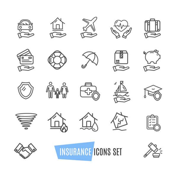 bildbanksillustrationer, clip art samt tecknat material och ikoner med insurance icon thin line set. vector - house after fire