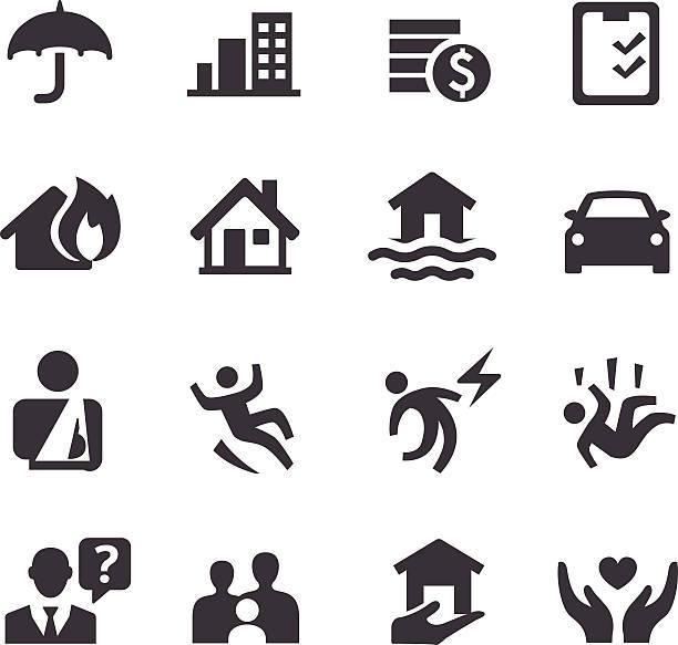 stockillustraties, clipart, cartoons en iconen met insurance icons - acme series - ongeluk transportatie evenement