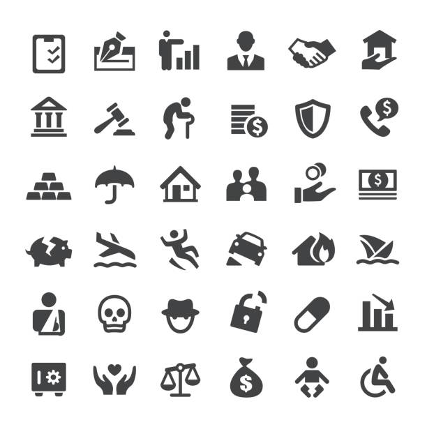 insurance icons - big series - insurance stock illustrations