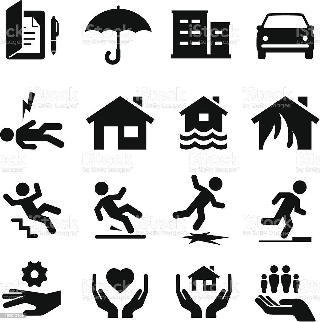 保険のアイコン-ブラックシリーズ ロイヤリティフリー保険のアイコンブラックシリーズ - アイコンのベクターアート素材や画像を多数ご用意