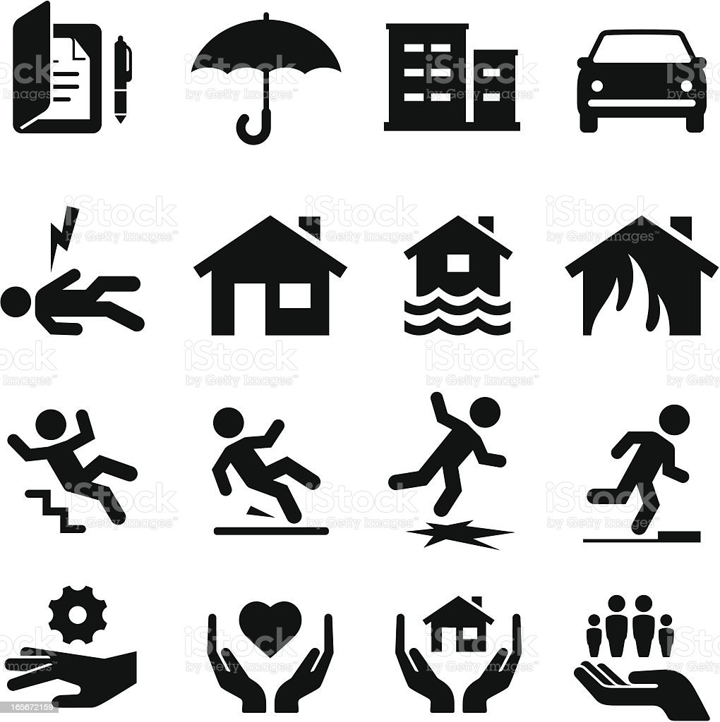 Insurance Icons - Black Series vector art illustration