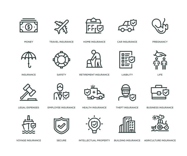 insurance icons - line series - insurance stock illustrations