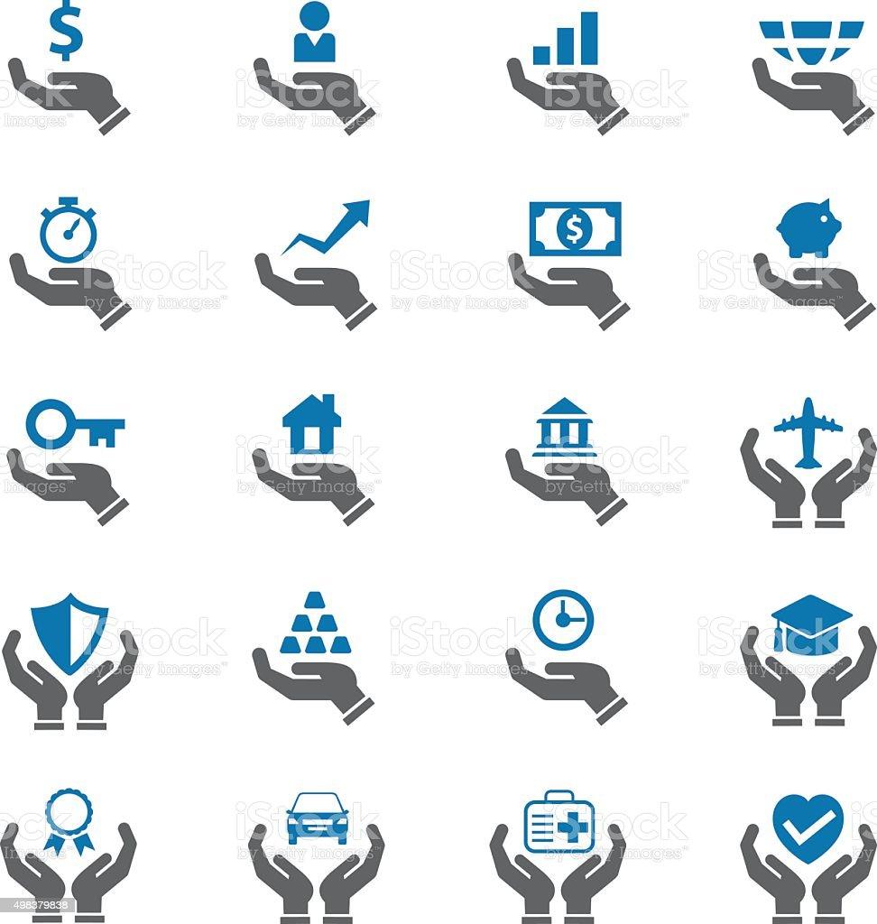 Insurance icons set vector art illustration