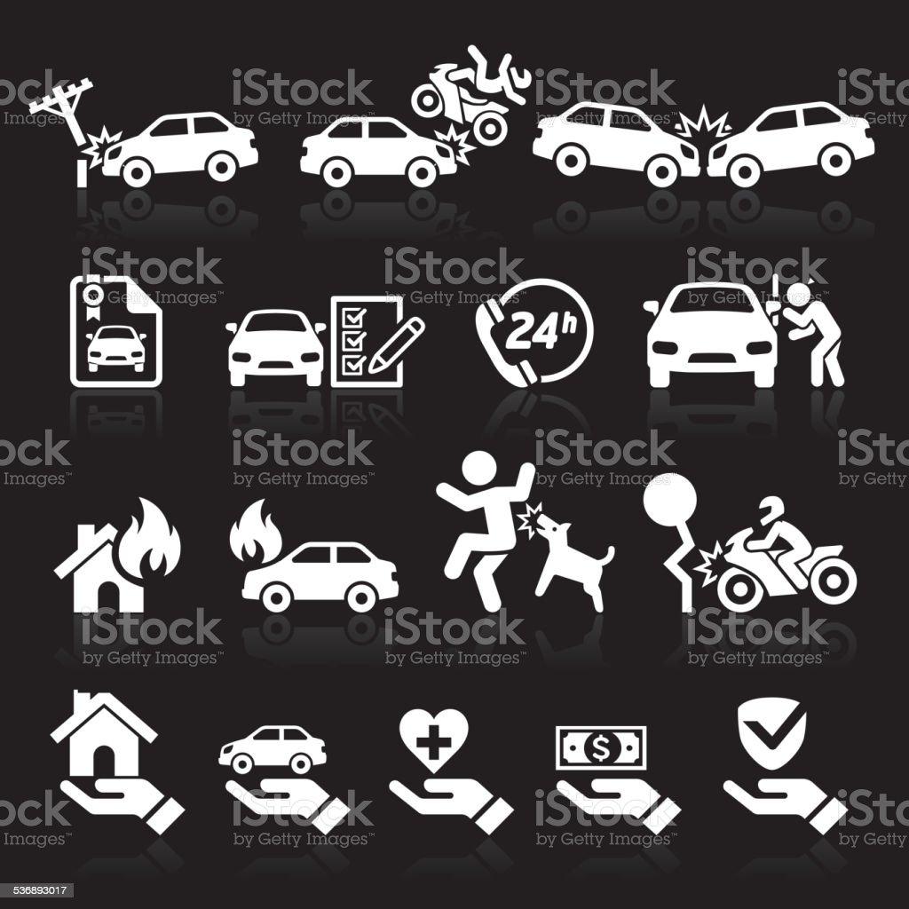 Versicherung icons set. – Vektorgrafik