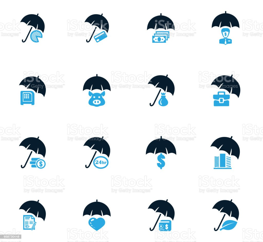 Insurance icons set vector art illustration