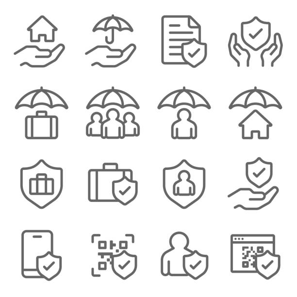 insurance icons set vector illustration. contains such icon as life insurance, protection, cyber security, health care and more. expanded stroke - group of people stock illustrations