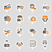 Insurance Icons Sticker Set for Poster, Web Site, Advertising like House, Car, Medical and Business. Vector illustration