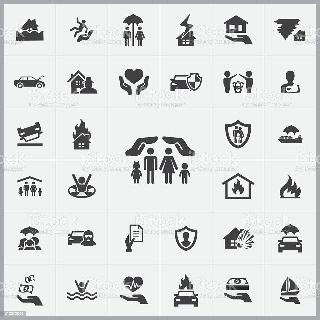 insurance icons universal set vector art illustration