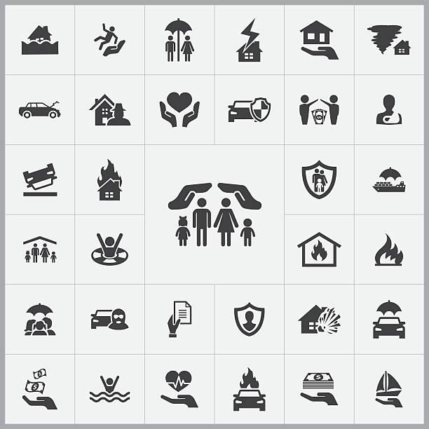 bildbanksillustrationer, clip art samt tecknat material och ikoner med insurance icons universal set - house after fire