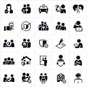 A set of insurance icons. The icons include insurance agents working with customers. They  include a female insurance agent, an agent holding a contract, paying out money, talking on the phone, working at a computer, shaking hands, selling insurance door to door, giving a person a business card, and wearing a headset. The set includes single insurance agents as well as groups of agents making a team.