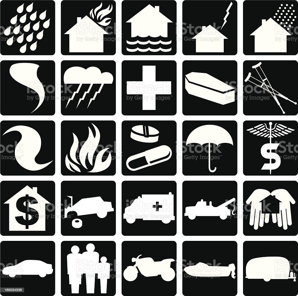 Insurance Icons royalty-free insurance icons stock vector art & more images of accidents and disasters