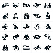 An icon set of different types of common insurances. The types of insurances represented include home insurance, auto insurance, medical insurance, health insurance, travel insurance, pet insurance, life insurance, injury insurance, work insurance, home insurance and funeral insurance.