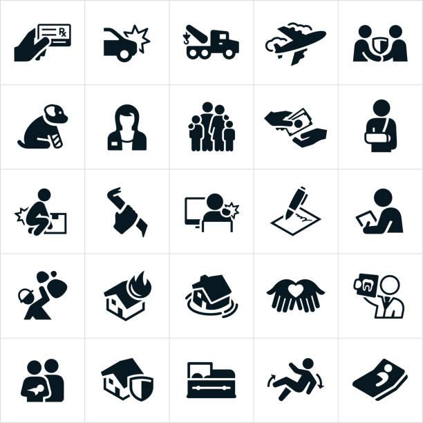 versicherung icons - arbeitshunde stock-grafiken, -clipart, -cartoons und -symbole