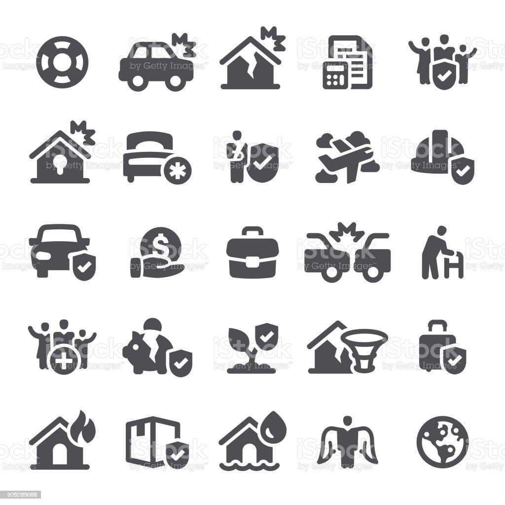 Icônes d'assurance - Illustration vectorielle