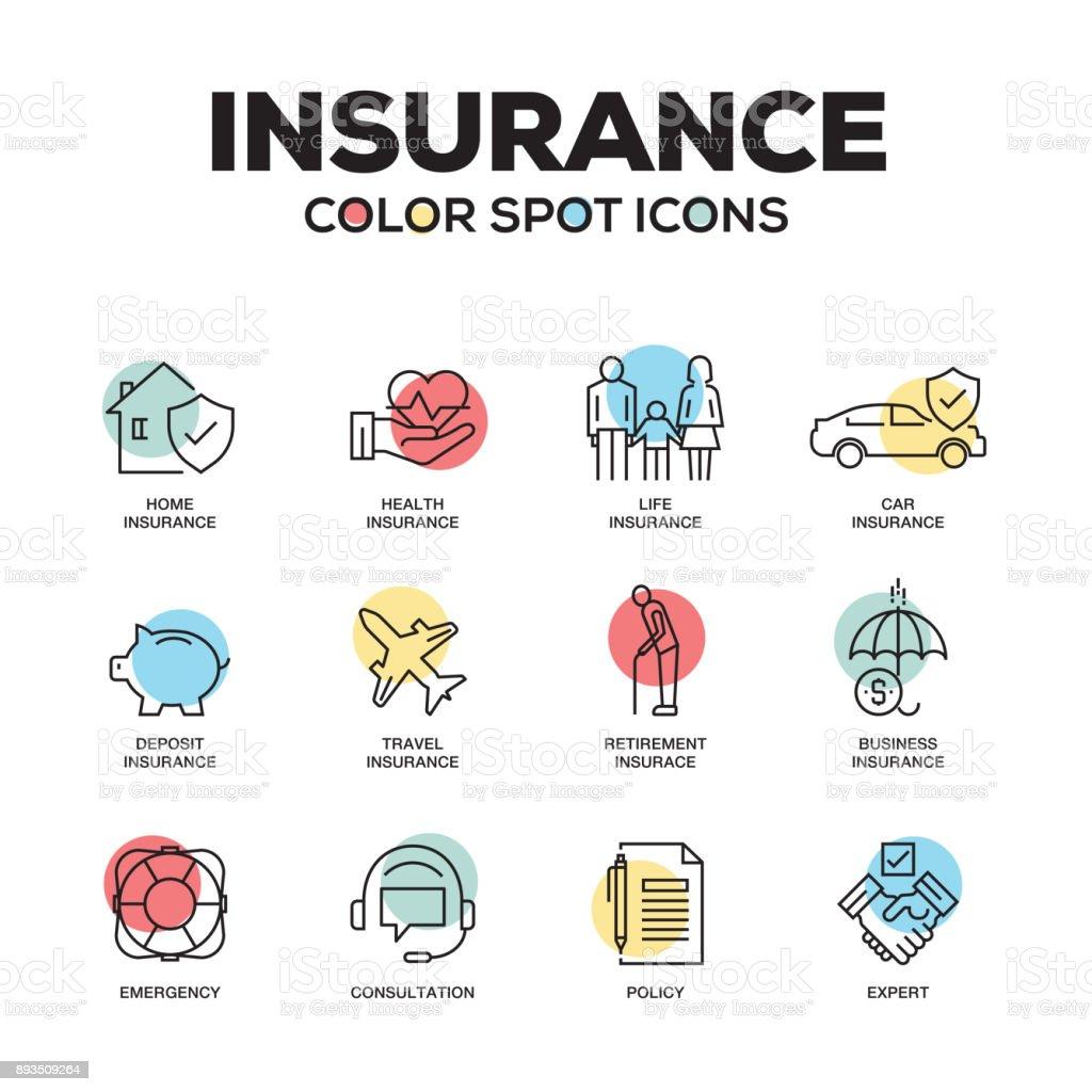 Icônes d'assurance. Jeu des icônes vectorielles en ligne. De qualité supérieure. Symboles du plan moderne et pictogrammes. - Illustration vectorielle