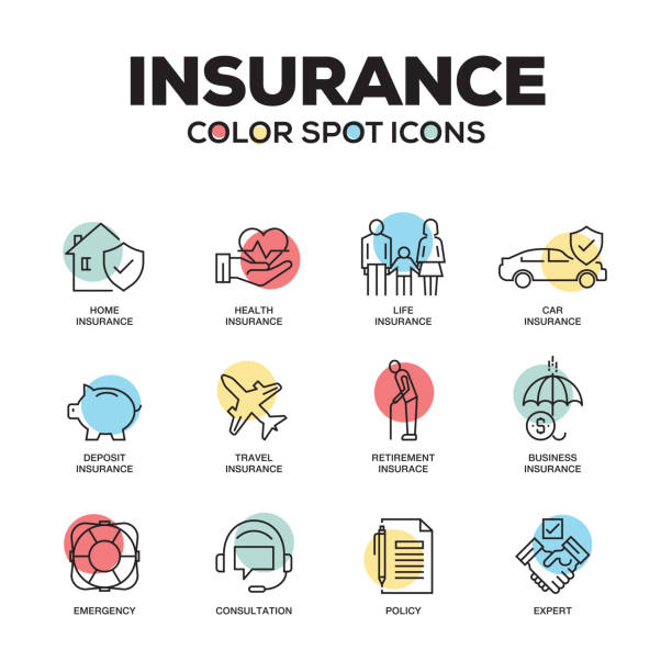 insurance icons. vector line icons set. premium quality. modern outline symbols and pictograms. - insurance stock illustrations