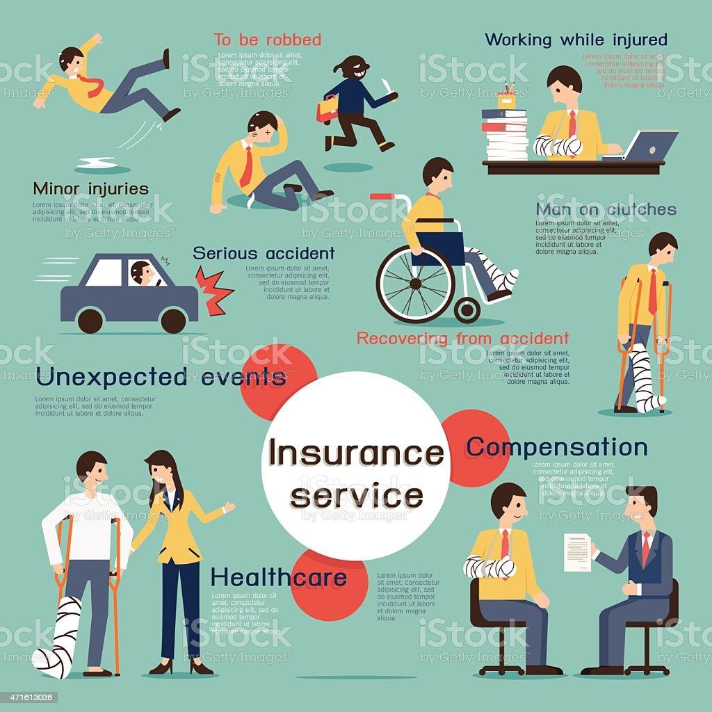 Infografía de seguros - ilustración de arte vectorial
