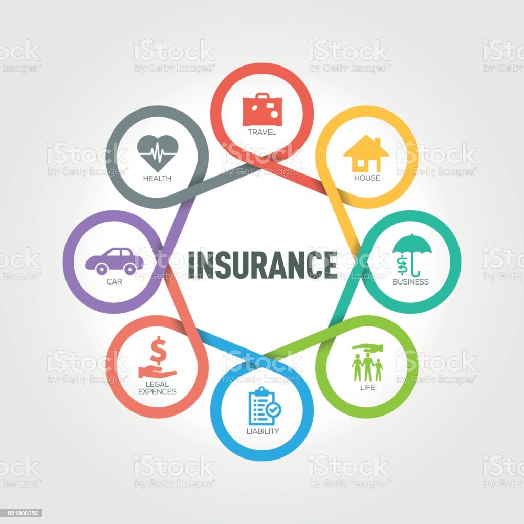 Insurance infographic with 8 steps, parts, options vector art illustration
