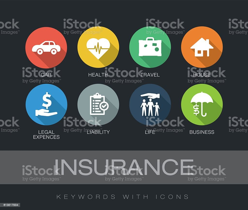Insurance keywords with icons - Illustration vectorielle