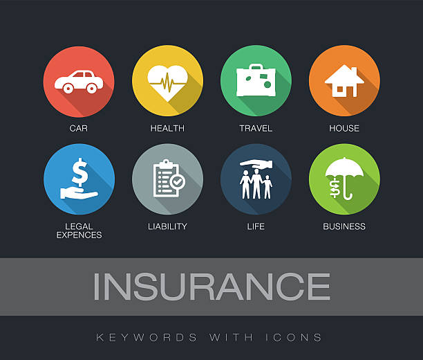 insurance keywords with icons - insurance stock illustrations