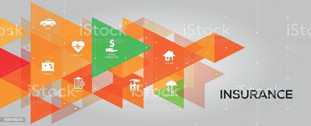 Mots-clés avec icônes d'assurance - Illustration vectorielle