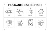 Insurance chart with keywords and monochrome line icons