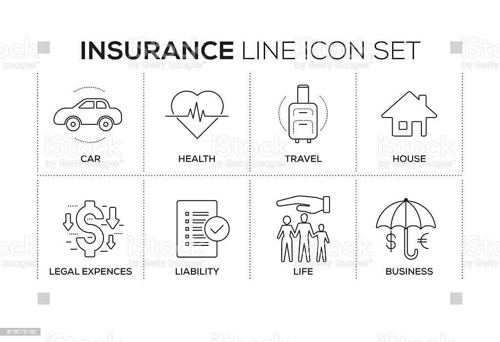 Insurance keywords with monochrome line icons - Illustration vectorielle