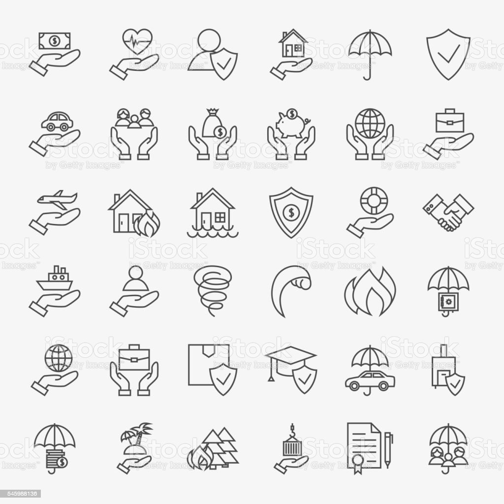 Insurance Line Art Design Icons Big Set vector art illustration