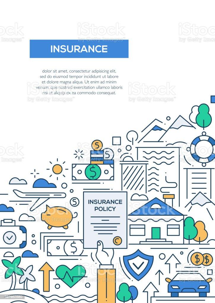 Insurance - line design brochure poster template A4 - ilustração de arte em vetor