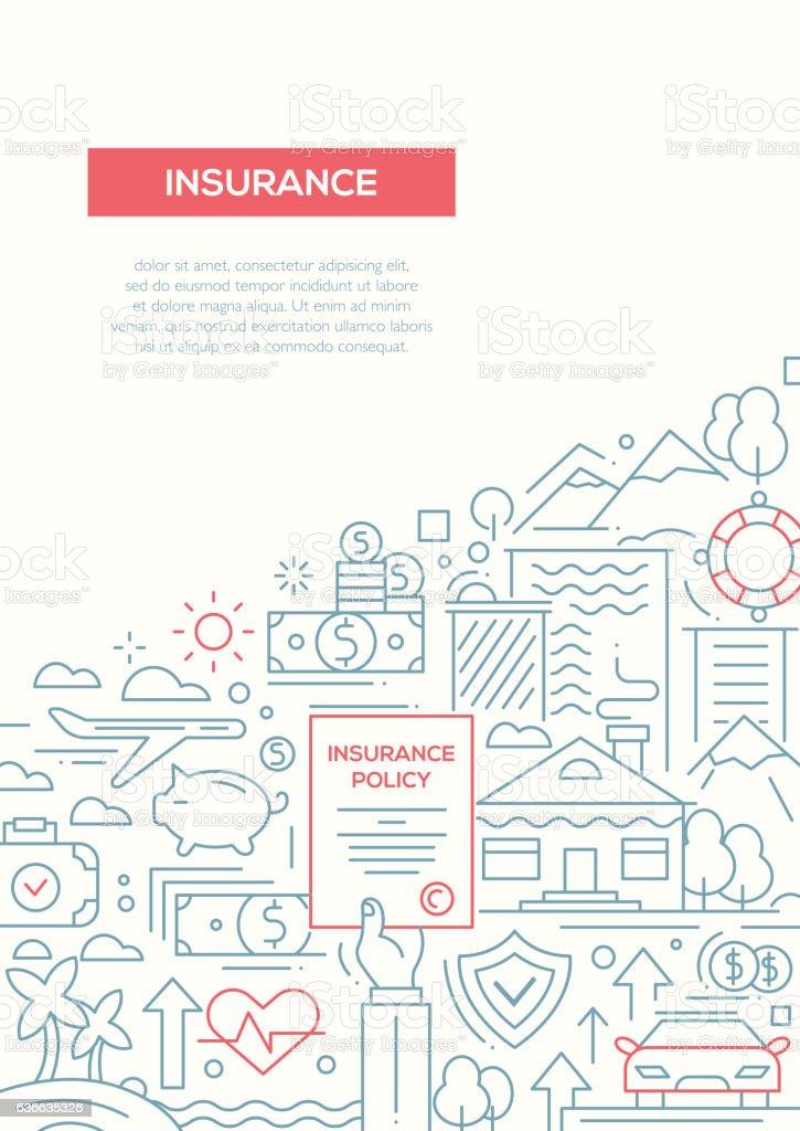 Assurance - ligne design brochure modèle d'affiche de l'A4 - Illustration vectorielle