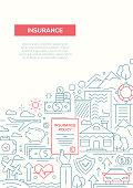 Insurance - line design brochure poster template A4