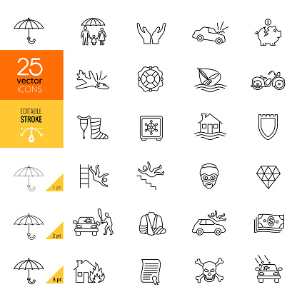 Insurance line icons collection. Editable Stroke.